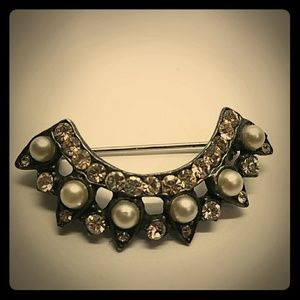 Vintage Antique Pearl Lapel Pin Brooch Rhinestone